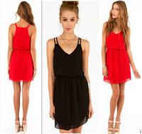 2015 NEW Summer women mini sexy chiffon dress,plus size S-4XL girl casual dress, fasion vestido Double strap party dresses
