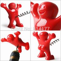 Free Shipping Creative Happy Man Corkscrew open a bottle of wine,Red wine bottle opener bottle opener