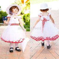 Girl Princess White Dress Girl Party Dress Flower Girl Wedding Dress 5pcs/Lot Free shipping 5 Sizes
