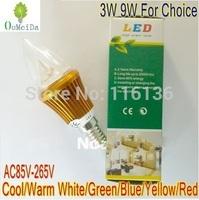 3W 9W High Power Candle Light 4 PCS/LOT E14 base AC85V---265V LED bulb LED Lamp 6colors for choice Gold Case LC9