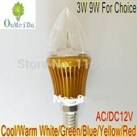 12PCS/LOT E14 base 3W 9W 12V AC/DC Candle Light lED bulb LED Lamp 6colors for choice Gold Case LC9