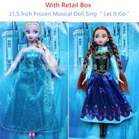 Hot Sale!!! 2PCS/Set Frozen Doll Musical 11.5 Inch Frozen Toys Frozen Elsa and Anna Frozen Princess Good Girl Gifts Girl Doll