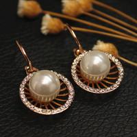 2014 New Fashion Wedding Bridal Accessories, Sweet Round Shape Earring Crystal Stud Earring For Women Girls Jewelry XHP016