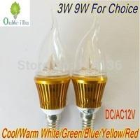 12PCS/LOT 3W 9W E14 base High Power Candle Light Flame Shape Cap DC/AC 12V LED Lamp 6color for choice Gold Case LC10