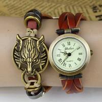 2014 New Women Dress Watches Women Hollow Watches Vintage Leather Fashion Quartz Retro Wolf Sports Vintage Wristwatches
