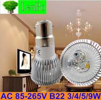 Free Expree shipping 100pcs/lot 220V B22 3W 4W 5W 9W Dimmable High Power spot light LED potlight tubes bulb lamps LS73
