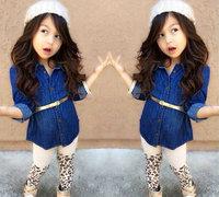 7set/lot wholesale denim long sleeve kids shirt pants belt 3pcs set gril clothes ,spring autumn child clothes set