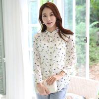 Women tops bird printed long sleeve stand collar shirt loose chiffon blouse blusas femininas