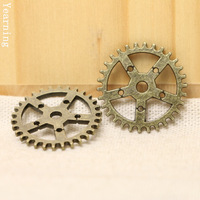 Yearning Jewelry Findings Vintage Bronze Metal Alloy Charms Gear Nacklace Bracelet Pendants 25MM 50pcs/lot