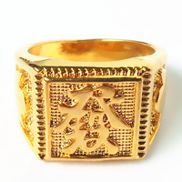 Free Shipping Two Pcs  Men Women 14 Gold Plated Rings Fortune Rings High Quality Gift Rings Blessing Ring
