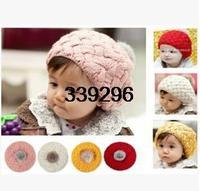 Hot 2014 New Autumn Winter Baby Hat Bonnet Kids Crochet Cap Lovely Infant's Headwear children beret hat Free Shipping