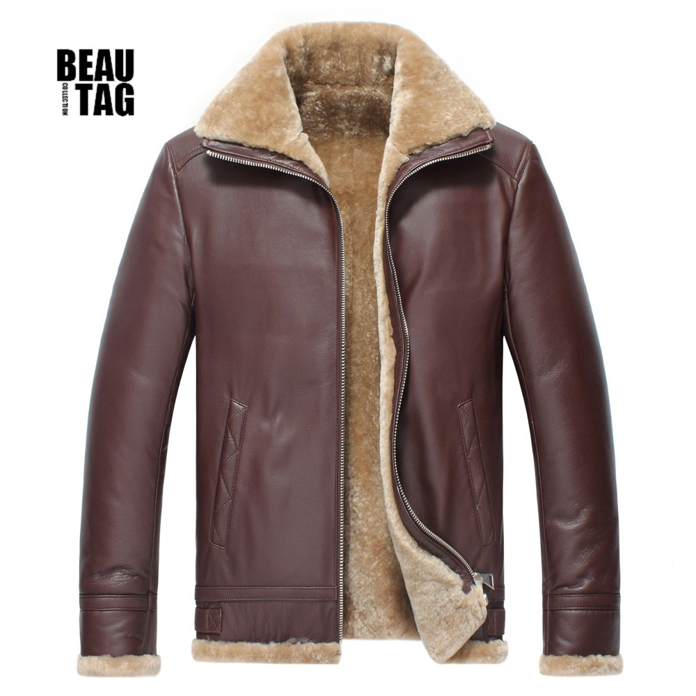 2015 New Arrival Winter Mens Genuine Leather Jackets And Coats With