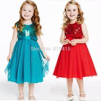 Hotsale Christmas Girl Princess Dress Girl Shinny Blue Red Party Dress Flower Girl Wedding Dress 5pcs/Lot Free shipping 5 Sizes