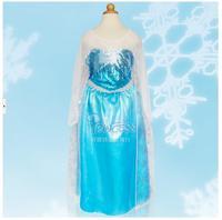 2015 Hot New Style Girls Blue Princess Dress Fashion Frozen Dress Long Sleeves Fall Dress Anna Costume Baby Free Shipping