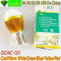 2 pcs/lot High Power DC/AC12V E27 LED Lamp Cool Warm White Bulb 3W 4W 5W 9W 10W Light Globe Gold-case LB3