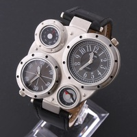 Best OULM Brand Sports Watches Quartz Watch Compass Thermometer Leather Strap Wristwatches Climbing Multiple Time Zone