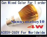 1PCS/LOT 4W globe lamp B22 base AC85V---265v LED lamp Globe Bulb Golden spot light down lights high power 6 colors LB35