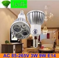 Dimmable High Power spot light 10pcs/lot 3W 9W E14 LED spotlight 220V AC85V-265V Lighting lamps tubes bulb LS49