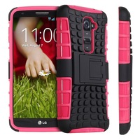 High quality Hybird antiskid tyre heavy duty silicone shockproof protective case with stand for LG G2 Optimus D801 F320