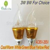 12PCS/LOT 3W 9W E14 base High Power Candle Light Flame Shape Cap AC85V---265V LED Lamp 6color for choice Gold Case LC10