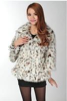 Winter faux 2014  women's sexy leopard print medium-long outerwear