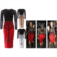 Ebay fashion patchwork print gauze long-sleeve slim hip sexy one-piece dress