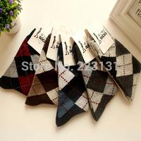 Men cotton autumn and winter thickening thermal big dimond plaid socks rabbit wool socks
