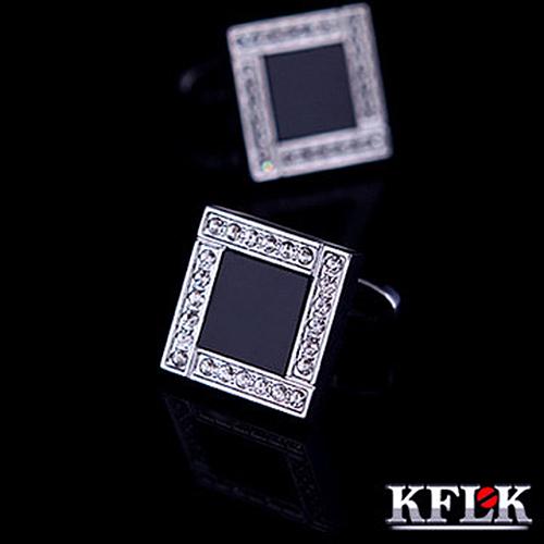 Kflk jóias 2014 camisa pequeno botão de punho para homens marca botões de punho abotoaduras preto cristal de alta qualidade abotoadura jóias(China (Mainland))