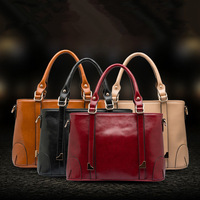 Wholesale fashion black brown wine red women genuine leather handbag hot sale women tote briefcase bag