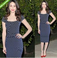 Ebay fashion star elegant slim waist slim hip slim medium-long polka dot short-sleeve dress