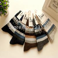 10pcs Men socks cotton autumn and winter thickening thermal fence stripe socks rabbit wool socks