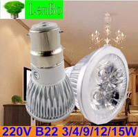 Dimmable High Power spot light 10pcs/lot 220V B22 3W 4W 9W 12W 15W AC85-265V LED spotlight tubes bulb Lighting lamps LS72