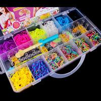 Hot Sale 2400pcs Loom Storage Box Loom Bands Kit Colorful Rubber Band Loom Band Set for DIY Bracelet Kids Baby Children Gift