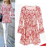 European fashion printed plus size t shirt women floral casual  t-shirt basic shirt tops