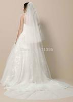 2015 Layers 2 Soft Elegant Bridal Cut Edge Veils With Comb Voile White Wedding Dresses Sluier