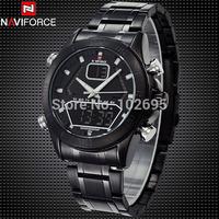 Brand NAVIFORCE Dual Time Wristwatches Men Quartz Analog Digital Watch Men Full Steel Watch Waterproof Military Sport Watches