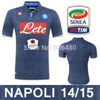 New arrival 14/15 best quality SSC NAPOLI dark blue HAMSIK HIGUAIN CALLEJON soccer jersey! Naples soccer jersey, euro size:S-XL