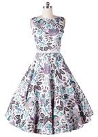 Top Quality!!!  New Audrey Hepburn 50s Retro Plant Leaf Print Pinup Rockabilly Party Birthday Prom Boat Neck Swing Dress XS - XL