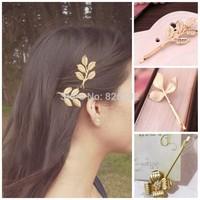 New fashion Gold Olive Leaf Hair Clip pin Cuff Pin Headband Hair Accessories