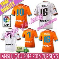 Soccer Jersey 2015 Valencia CF Jersey 14 15 Valencia Home PACO ALCACER White Home 14/15 Valencia NEGREDO Orange Football Shirt