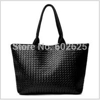 2014 new wild woven handbag handbags wholesale simple plaid bag large capacity shoulder bag pu handbag
