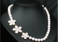 Natural Freshwater Real Long Pearl Chunky Necklace with Opal Flower