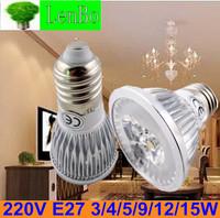 Dimmable High Power spot light 100pcs/lot 3W 4W 9W 12W 15W 220V E27 LED spotlight tubes bulb AC85-265V Lighting lamps LS72