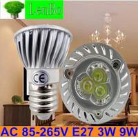 Free express shipping 100pcs/lot 220V E27 3W 9W Dimmable High Power spot light LED spotlight tubes bulb Lighting lamps LS51