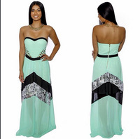 Vestido De Festa Sexy Club 2014 Women Clothing Hollow Out Strapless Geometric Vintage Long Maxi Prom Evening Party Dress