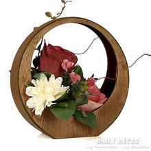 Nova alta qualidade de seda rosa arranjos de flor artificial conjunto de flores artificiais arranjos ikebana em potes de madeira grátis frete(China (Mainland))