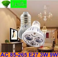 10pcs/lot 3W 9W E27 Dimmable High Power spot light LED spotlight 220V AC85V-265V tubes bulb Lighting lamps LS49