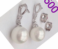 2014 New  Women Accessories Fashion Round Pearl Dangle Earrings 18K White Gold Solid Filled Earrings  for Women Wedding Gift