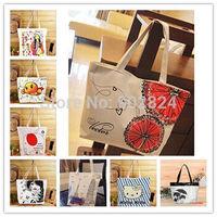 New 1pc canvas shoulder bag women Cartoon Single Shoulder student Handbags Canvas Medium shopping Bag BA216-223