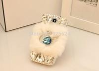 3D case new luxury rhinestone bling case For Samsung galaxy S5 S4 S3 i9600 i9500  Note3 Note2 diamond rabbit hair cygnet Case